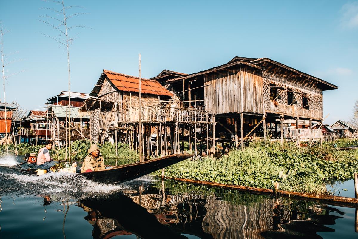 Inle See schwimmende Dörfer