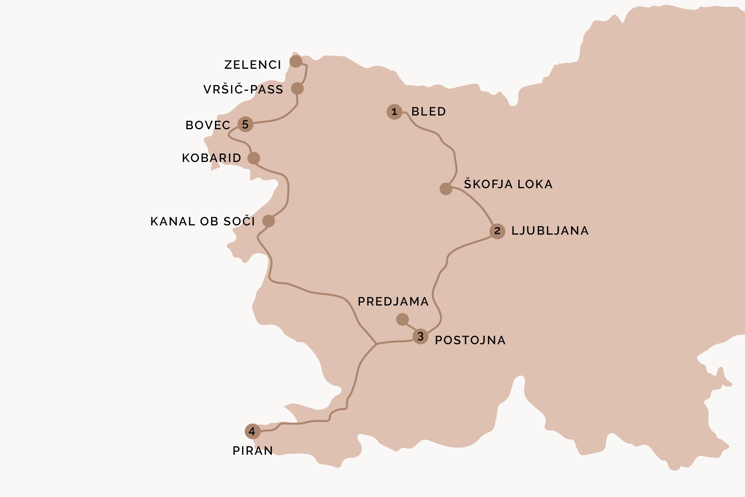 Slowenien Roadtrip Route