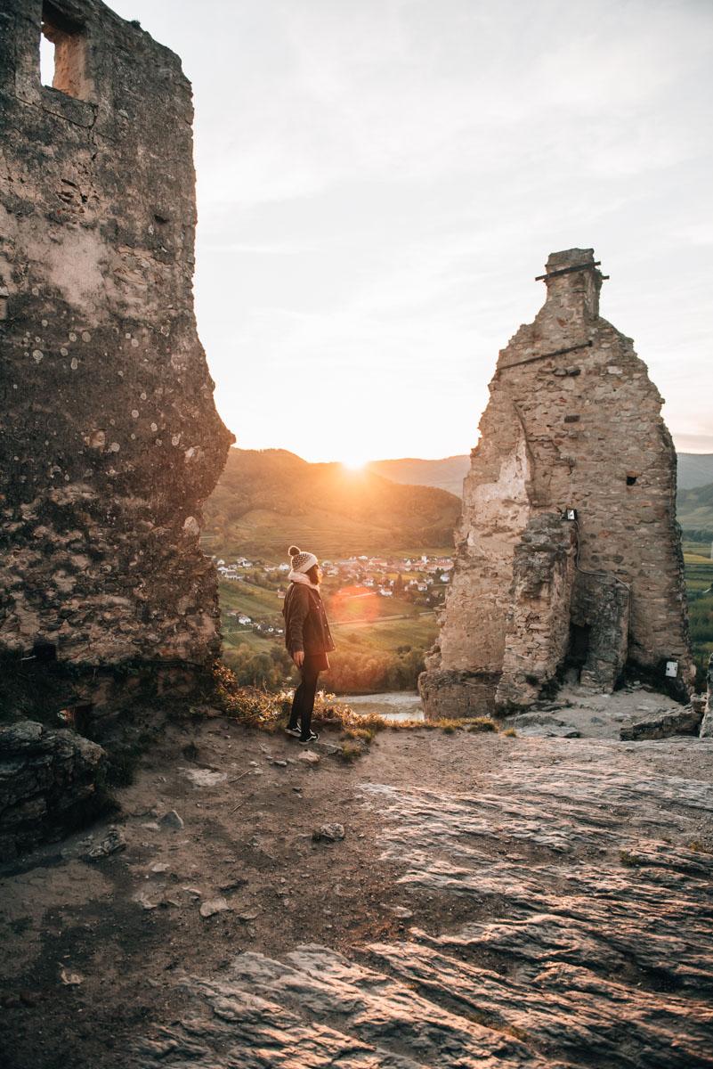 Burgruine Dürnstein Sonnenuntergang