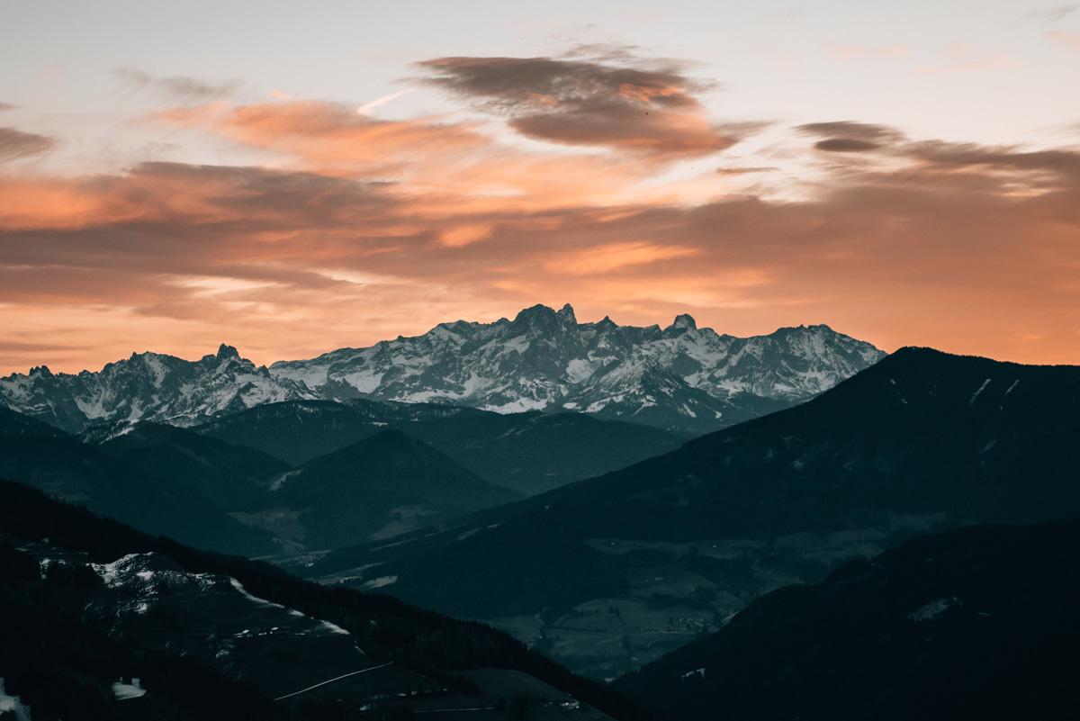 Hochkönig Sonnenaufgang Skifahren