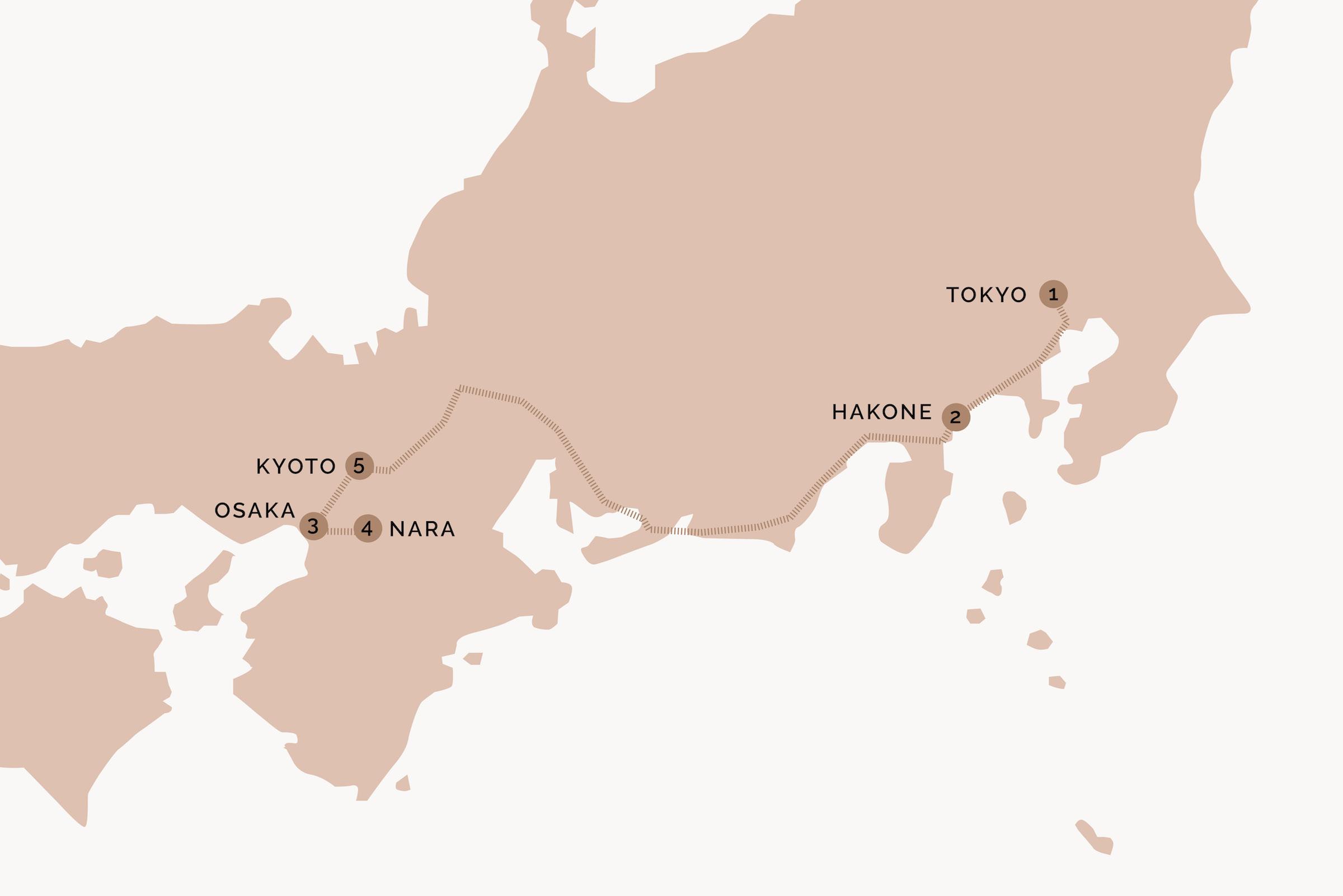 Japan Itinerary Map