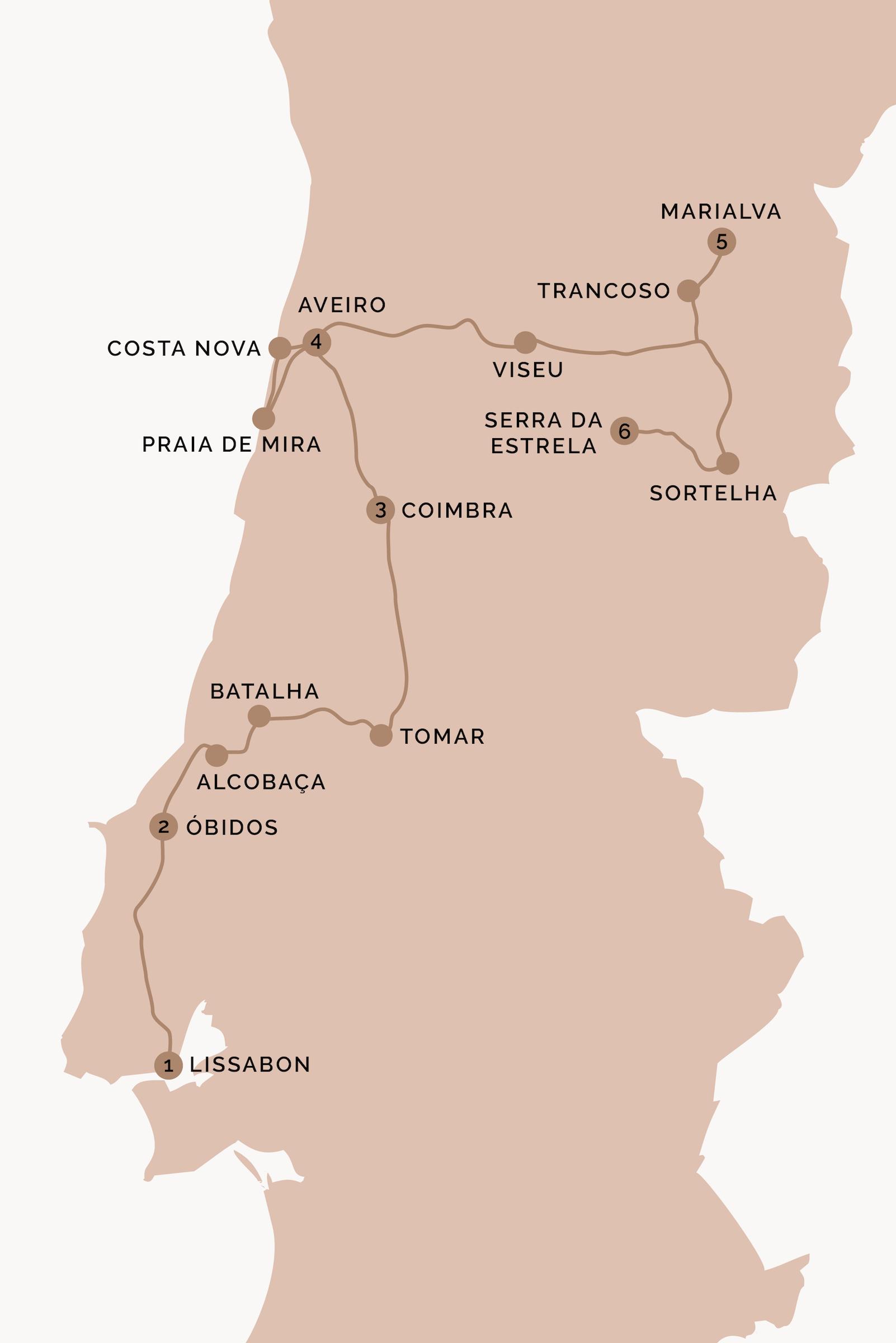 Portugal Reiseroute Karte