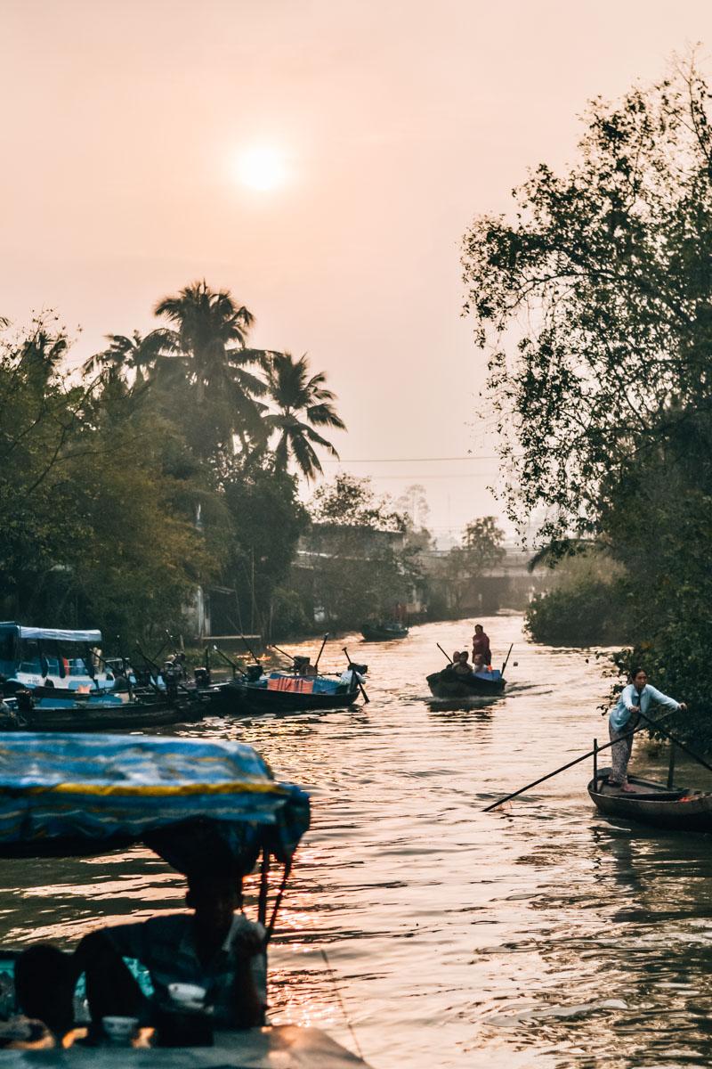 Sonnenuntergang Mekong Delta