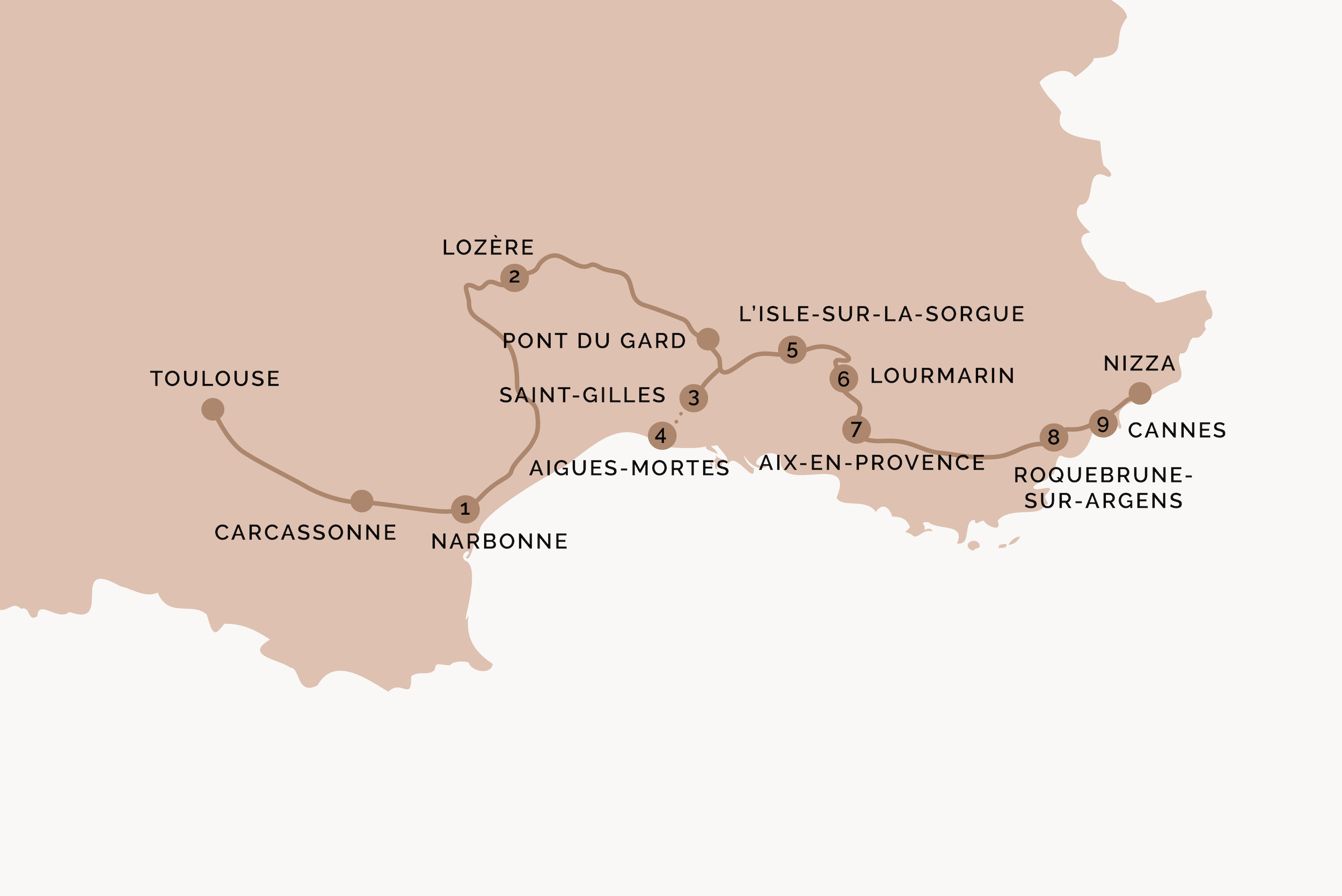 Südfrankreich Route Karte